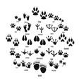 animal footprint icons set simple style