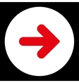 Arrow Right flat red and white colors round button vector image