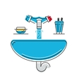 Bathroom sink with soap and toothbrushes line vector image