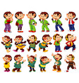 big set cute monkeys in different costumes vector image