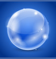 blue glass ball 3d shiny sphere vector image vector image