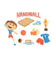 boy handball player kids future dream vector image vector image