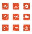 burglary icons set grunge style vector image vector image