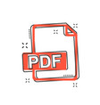 cartoon pdf icon in comic style pdf document vector image vector image