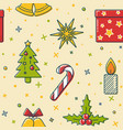 christmas seamless pattern with holiday symbols vector image