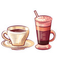 coffee poured in glass and cup latte beverage vector image vector image