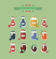 collection of jars with juice in flat vector image vector image