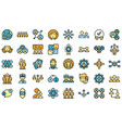 crew icons set flat vector image vector image
