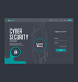 cyber security landing page template design vector image