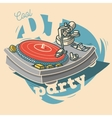 DJ Cool Party Funny Poster Design With Vinyl vector image vector image