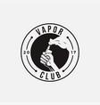 emblem hand holding vapor logo icon template vector image vector image