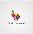 fruit diamond logo icon element and template vector image