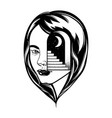 hand drawn of female head with door and stairway vector image vector image