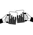 hands holding beer mug foam vector image