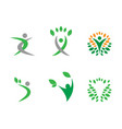humanoid and leafs in circle logo concept vector image