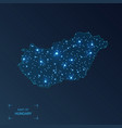 hungary map with cities luminous dots - neon vector image
