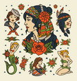 isolated flash classic women tattoo vector image vector image