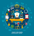 jewelry shop round composition vector image vector image