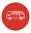 line art style retro minivan car icon vector image