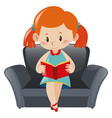 little girl reading book on sofa vector image