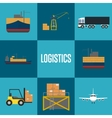 Logistics and freight transportation icon set vector image