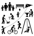 man family children garden park activity symbol vector image vector image