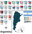 map of argentina with flags vector image vector image