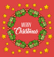merry christmas wreath leaves berries star red vector image vector image