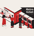 metro ticket isometric poster vector image vector image