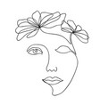 one line drawing abstract beautiful woman vector image