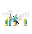 people working modern flat color design business vector image
