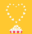 popcorn popping red yellow strip box cinema movie vector image vector image