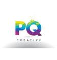 pq p q colorful letter origami triangles design vector image
