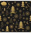 Seamless Christmas pattern gold vector image