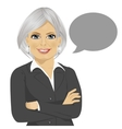 senior businesswoman with blank speech bubble vector image vector image
