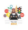 set of road symbols and driver arab businessman vector image