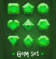 set realistic green gems various shapes vector image
