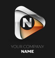 silver letter n logo in golden-silver triangle vector image vector image