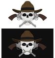 Skull in hat 2 crossed pistols emblem vector image