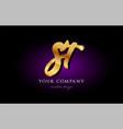 st s t 3d gold golden alphabet letter metal logo vector image vector image