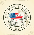 Stamp with map flag of United States of America vector image vector image