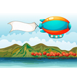 The empty banner carried by the colorful airship vector image vector image