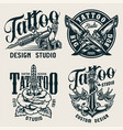 vintage tattoo studio monochrome labels vector image vector image