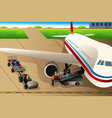 workers loading luggages into an airplane in the vector image vector image
