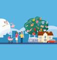 family horizontal banner tree cartoon style vector image