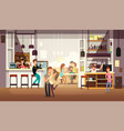 people eating lunch in cafe bar interior flat vector image