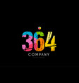 364 number grunge color rainbow numeral digit logo vector image vector image