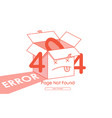 404 error red box line background vector image vector image