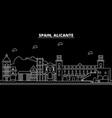 alicante silhouette skyline spain - alicante vector image vector image