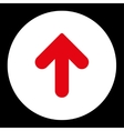 Arrow Up flat red and white colors round button vector image vector image